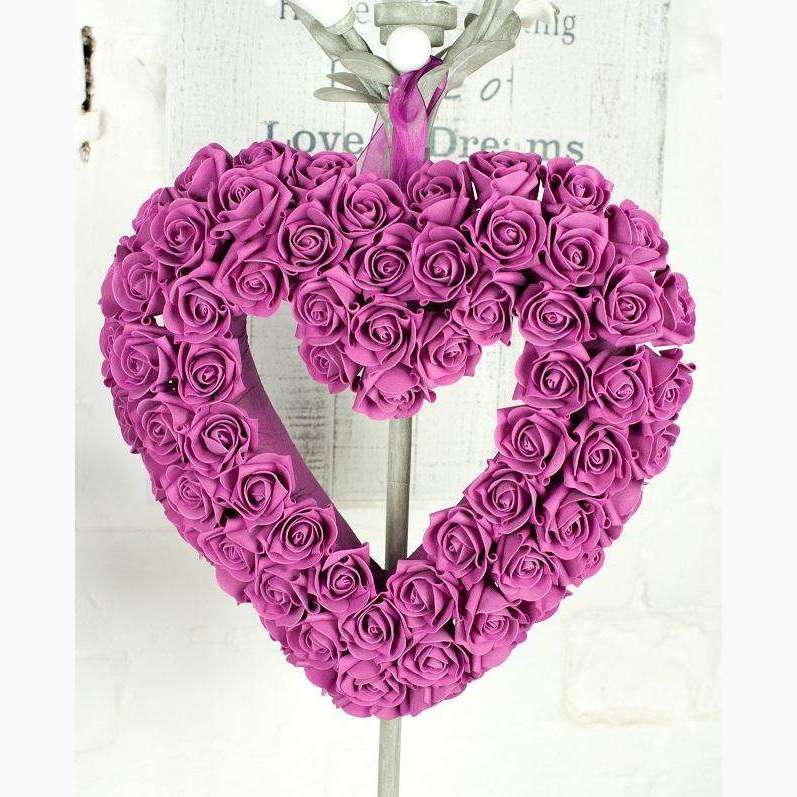 Magenta Cluster Rose Heart With Organza Ribbon Handle