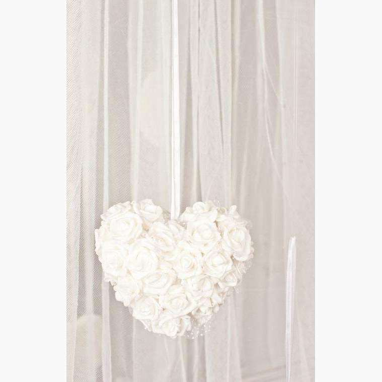 Double Sided Rose Cluster Heart - White