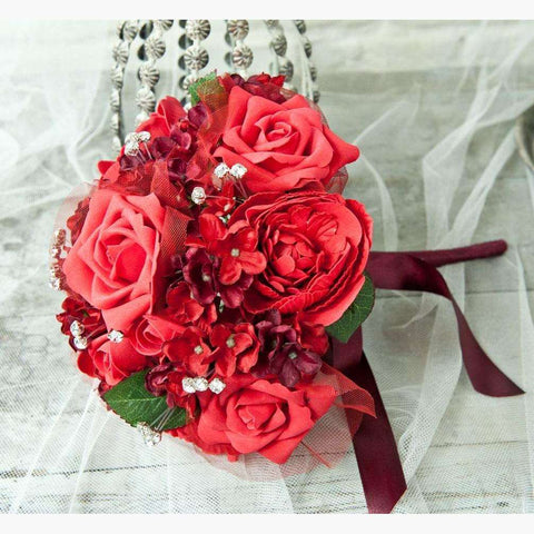 Large Luxury Colourfast Bouquet in Deep Red with Diamante