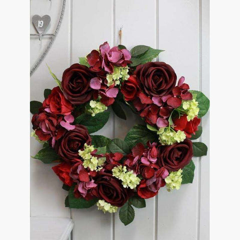 Lux Wreath/Centrepiece with Roses & Hydrangea - Red
