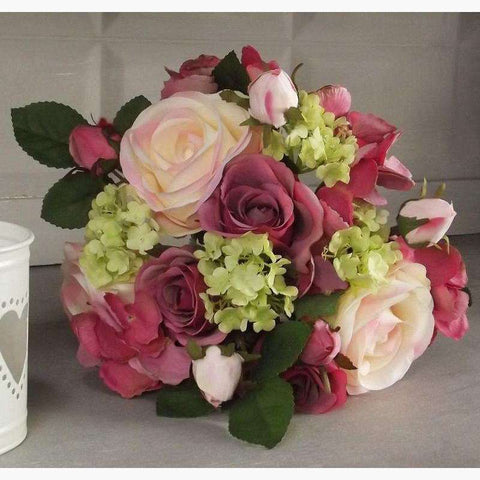 Large Bouquet of Roses & Hydrangeas - Rose Pink