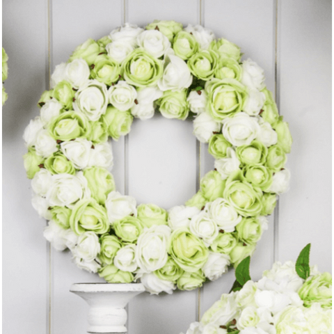 Lux Clustered Rose Wreath - Large - Cream Green Mix