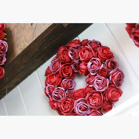 Lux Clustered Rose Wreath - Damask Red