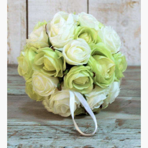 Pomander of Clustered Roses Cream/Green Mix