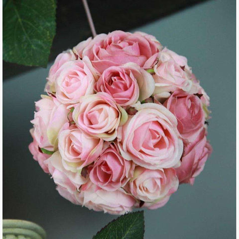 Soft Pink Mix Pomander of Clustered Roses
