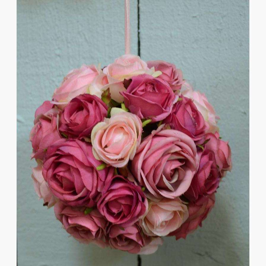 Deep/Pale Pink Mix Pomander of Clustered Roses