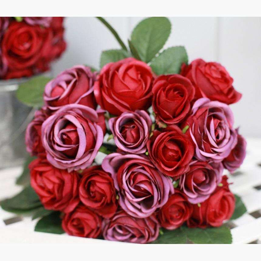 Clustered Rose Bouquet - Damask Red