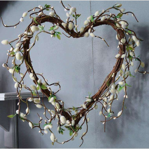 Large Cream/Green Pussy Willow and Twig Heart