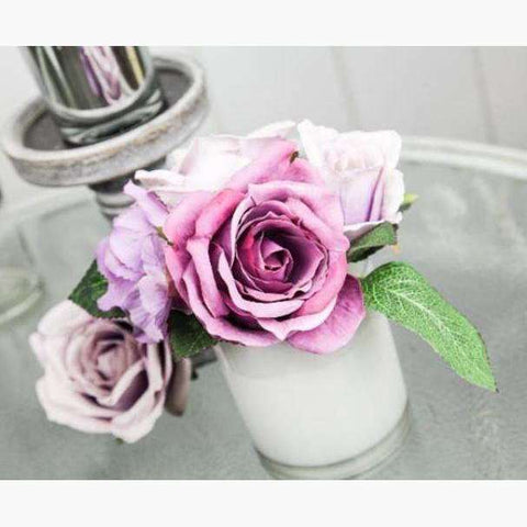 Lilac Roses and Hydrangeas in White Glass