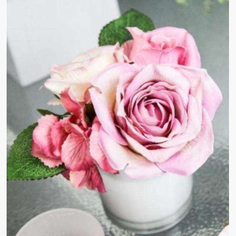 Pale Pink Roses and Hydrangeas in White Glass