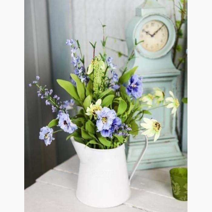 Wild Meadow Flowers in Cornflower Blue and Citrus Daisies in a Painted Tin Jug