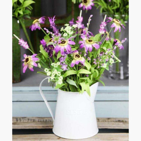 Lilac Wild Flowers in Painted Tin Jug