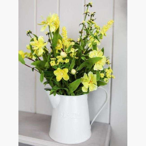 Fresh Yellow Wild Flowers in Painted Jug