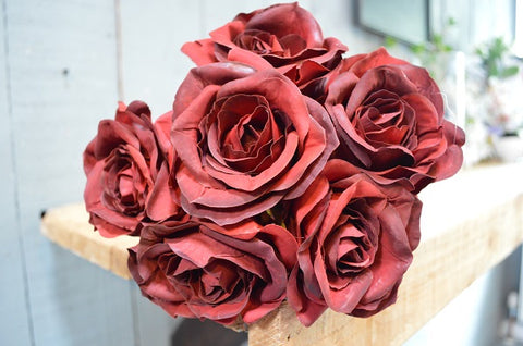 Rose Bouquet of 6 Roses - Burgundy