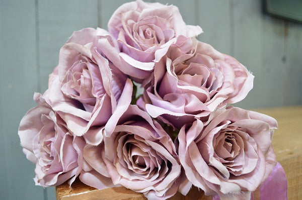 Rose Bouquet of 6 Roses - Vintage Lilac