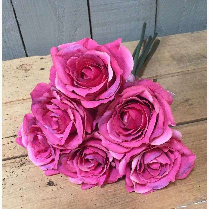 Rose Bouquet of 6 Roses - Tea Rose Pink