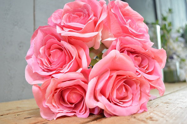 Rose Bouquet of 6 Roses - Candy Pink