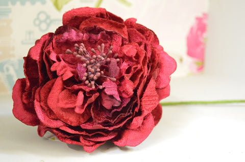 Luxury Large Velvet Peony in Raspberry