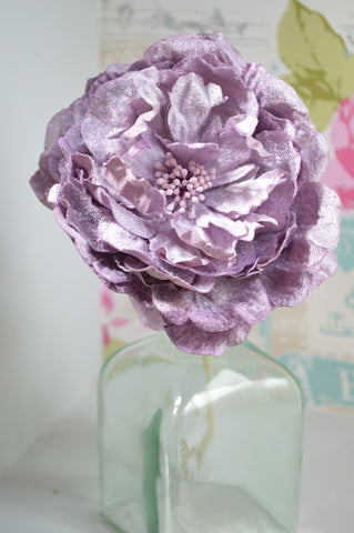 Luxury Large Velvet Peony in Lilac