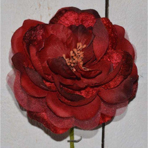 Large Open Castle Rose Velvet & Chiffon in Dark Red