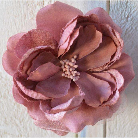 Large Open Castle Rose Velvet & Chiffon in Dusky Pink