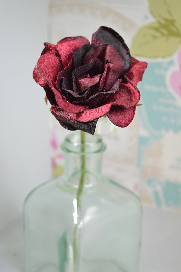 Vintage Style Velvet Rose in Burgundy