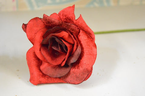 Vintage Style Velvet Rose in Damask Red