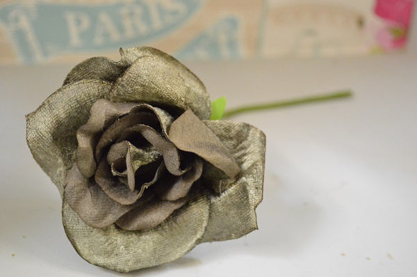 Vintage Style Velvet Rose in Dove Grey