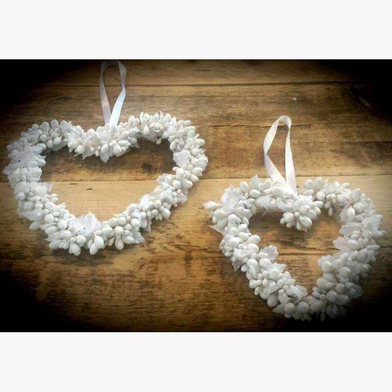 Set of 2 White Bead Hearts