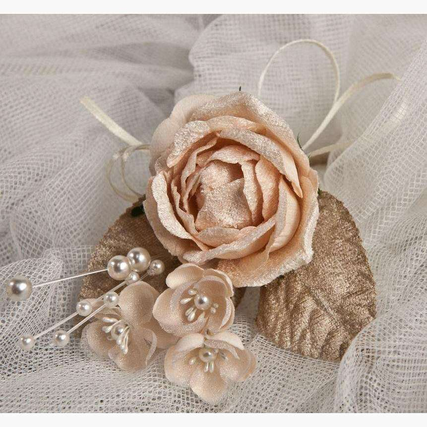 Vintage Style Velvet Rose & Pearl Corsage 3pc/Display Box