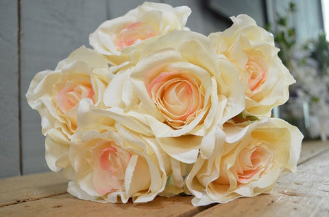 Rose Bouquet of 6 Roses - Hint of Peach