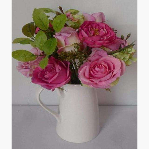 Jug of Deep Pink Roses and Dogwood