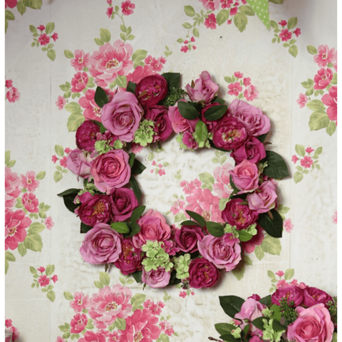 Wreath of Deep Pink Roses and Dogwood