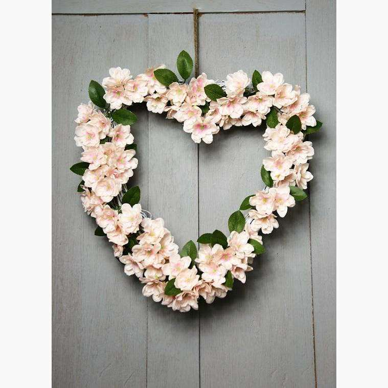 Pale Pink Blossom Heart on a Natural Willow Frame
