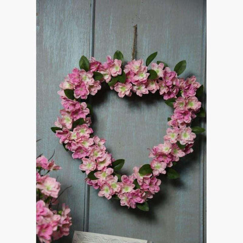 Mixed Pink Blossom Heart on a Natural Willow Frame