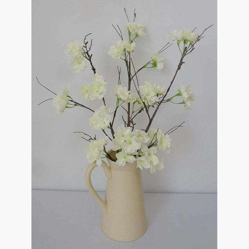 Cream Blossom Branch in a Ceramic Jug