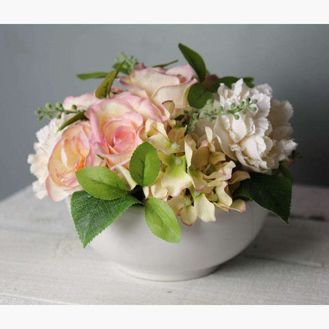 Peach & Soft Pink Roses, Hydrangea & Ranunculus, Mixed with Foliage in a Ceramic Bowl