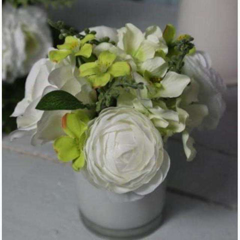 Cluster Arrangement of Cream Roses, Hydrangeas and Ranunculus in Glass Vase