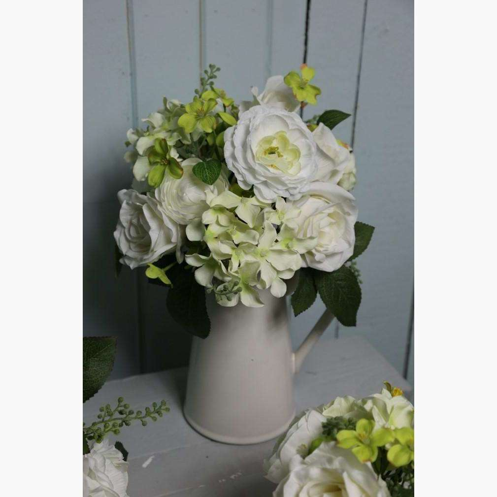 Ceramic Jug with Cream Roses, Hydrangeas and Ranunculus