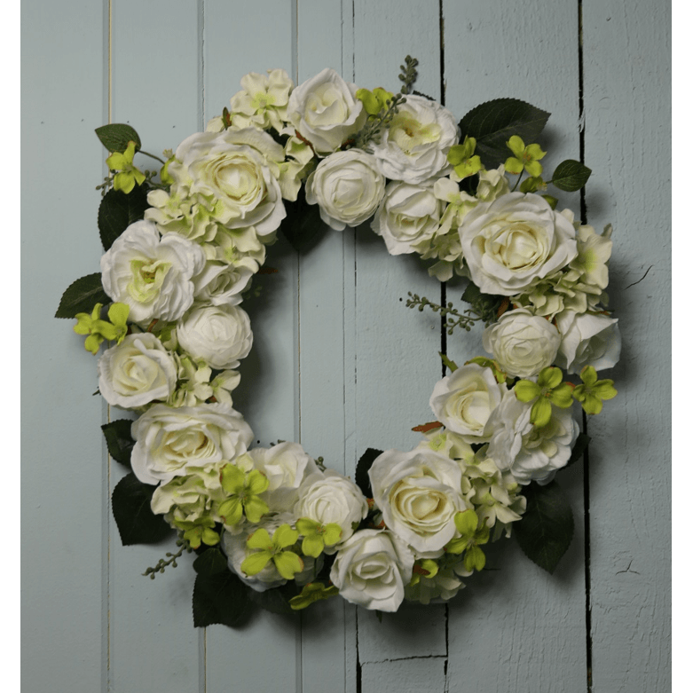 XL Luxury Cluster Wreath of Cream Roses, Hydrangeas and Ranunculus