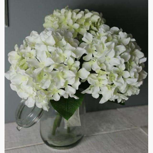 Cluster of 3 Cream Hydrangea Flowers in Bouquet