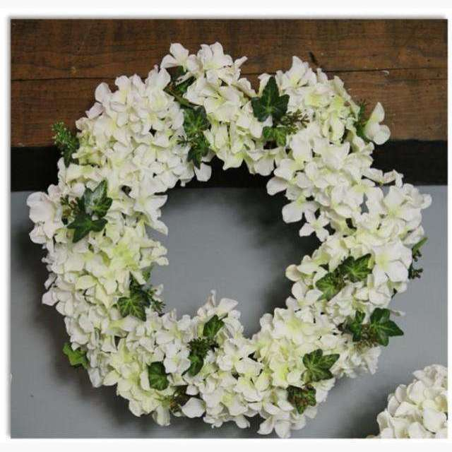Cluster Wreath of Cream Hydrangeas and Ivy