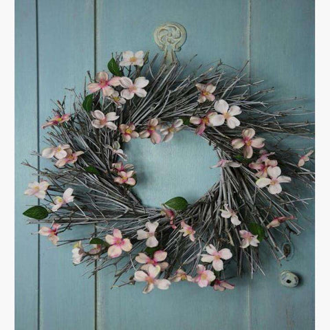 Mixed Pink Dogwood & Willow Wreath