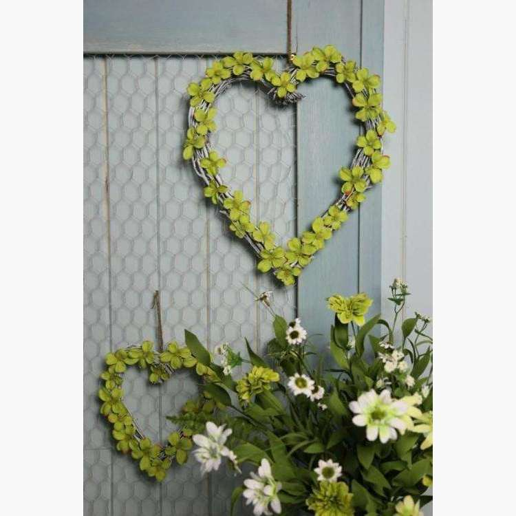Set of 2 Lime Green Dogwood Heart