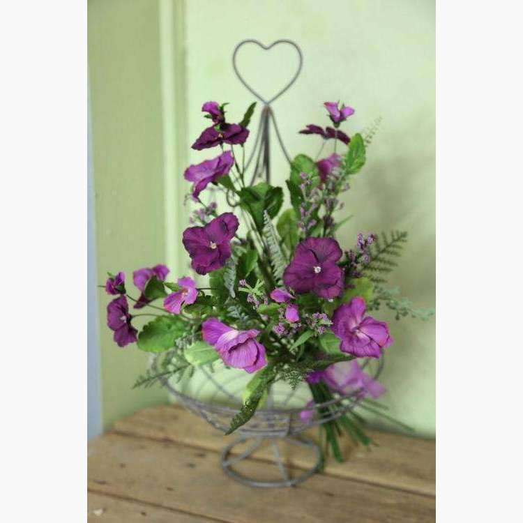 Deep Magenta and Pink Pansies in a Tied Bouquet