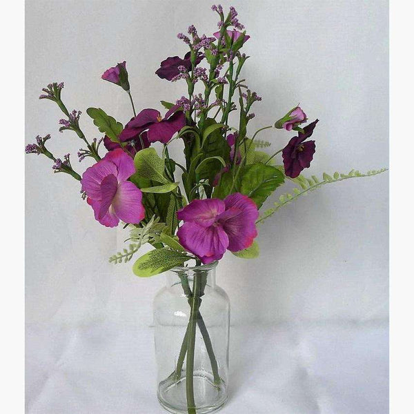 Mixed Pansies in Glass Bottle Set in Faux Water