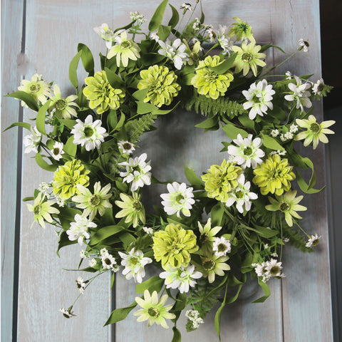 White & Citrus Mixed Meadow Wreath