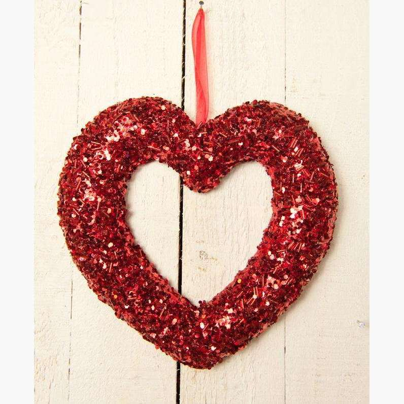Red Glitter & bead Open Heart