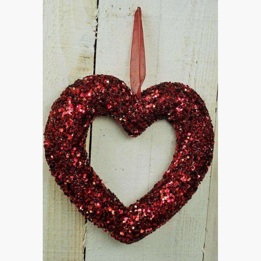 Burgundy Glitter & bead Open Heart