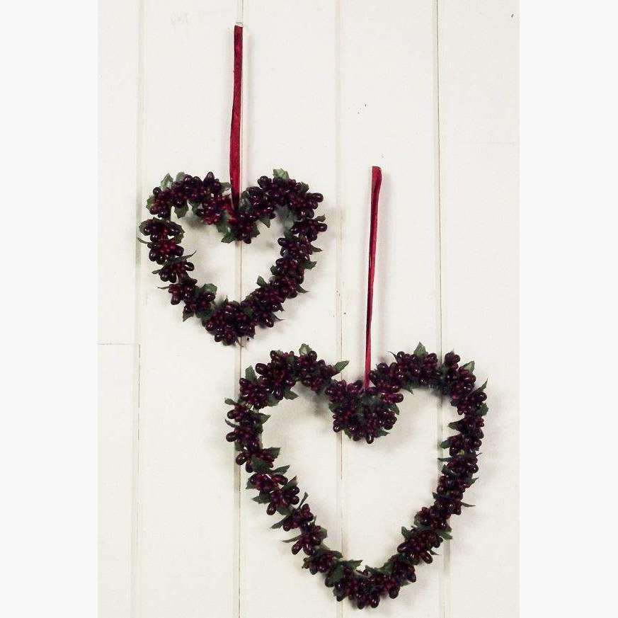 Set of 2 Burgundy Bead Hearts